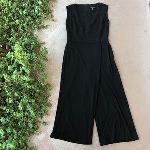 Eileen Fisher Faux Wrap Black Midi Jumpsuit